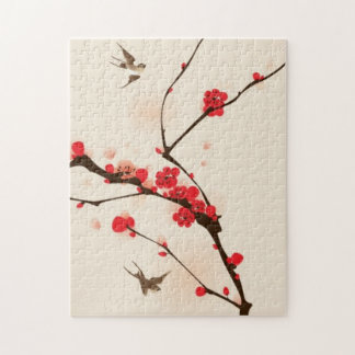 Oriental style painting, plum blossom in spring 3 jigsaw puzzle