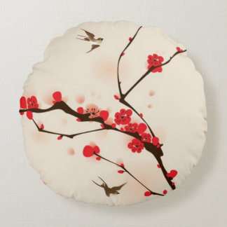 Oriental style painting, plum blossom in spring 3 round pillow