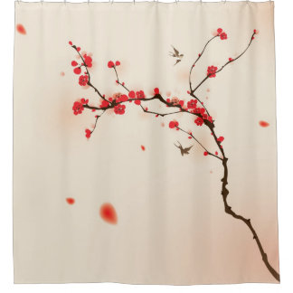 Oriental style painting, plum blossom in spring 3 shower curtain