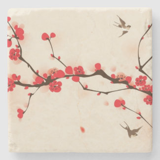 Oriental style painting, plum blossom in spring 3 stone coaster