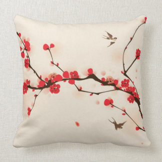 Oriental style painting, plum blossom in spring 3 throw pillow