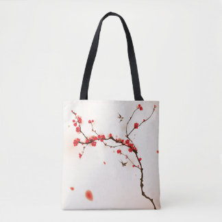 Oriental style painting, plum blossom in spring 3 tote bag