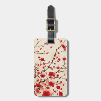 Oriental style painting, plum blossom in spring bag tag