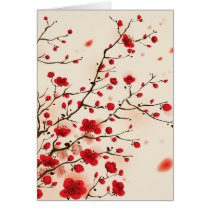 Oriental style painting, plum blossom in spring card