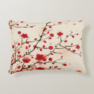 Oriental style painting, plum blossom in spring decorative pillow