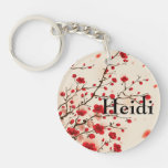 Oriental style painting, plum blossom in spring Double-Sided round acrylic keychain