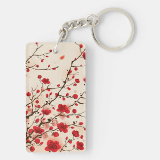 Oriental style painting, plum blossom in spring keychain
