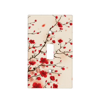 Oriental style painting, plum blossom in spring light switch cover