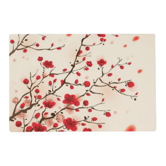 Oriental style painting, plum blossom in spring laminated placemat