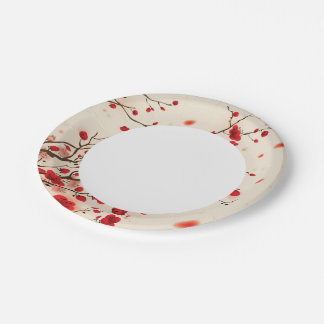 Oriental style painting, plum blossom in spring paper plate