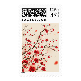 Oriental style painting, plum blossom in spring postage