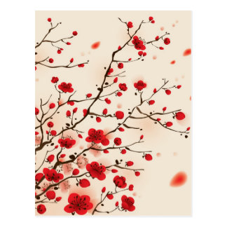 Oriental style painting, plum blossom in spring postcard
