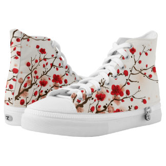 Oriental style painting, plum blossom in spring printed shoes