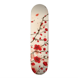 Oriental style painting, plum blossom in spring skateboard deck