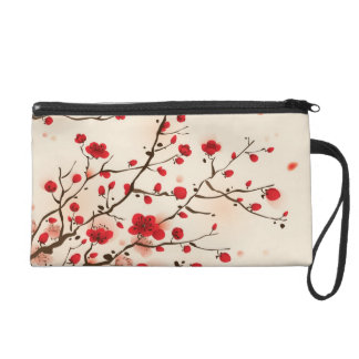 Oriental style painting, plum blossom in spring wristlet purse