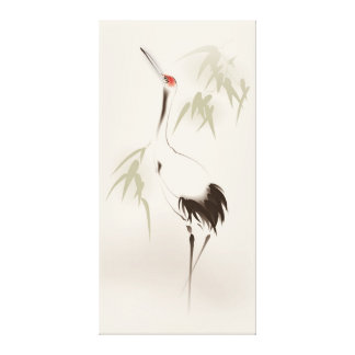 Oriental style painting, Red-crowned Crane Canvas Print