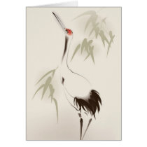 Oriental style painting, Red-crowned Crane Card