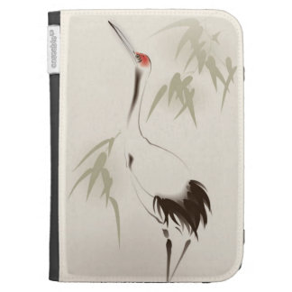 Oriental style painting, Red-crowned Crane Cases For The Kindle