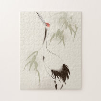 Oriental style painting, Red-crowned Crane Jigsaw Puzzle