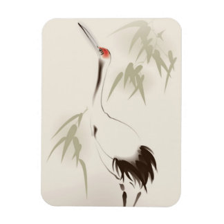Oriental style painting, Red-crowned Crane Magnet