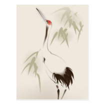 Oriental style painting, Red-crowned Crane Postcard