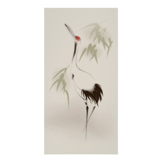 Oriental style painting, Red-crowned Crane Poster