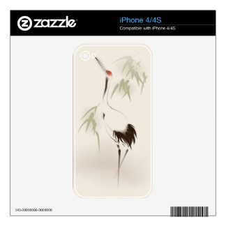 Oriental style painting, Red-crowned Crane Decal For iPhone 4