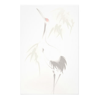 Oriental style painting, Red-crowned Crane Stationery