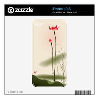 Oriental style painting, tall Lotus Decal For iPhone 4
