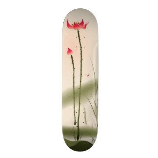 Oriental style painting, tall Lotus Skateboard