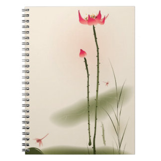 Oriental style painting, tall Lotus Spiral Notebook