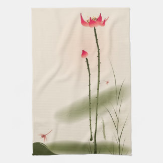 Oriental style painting, tall Lotus Towels