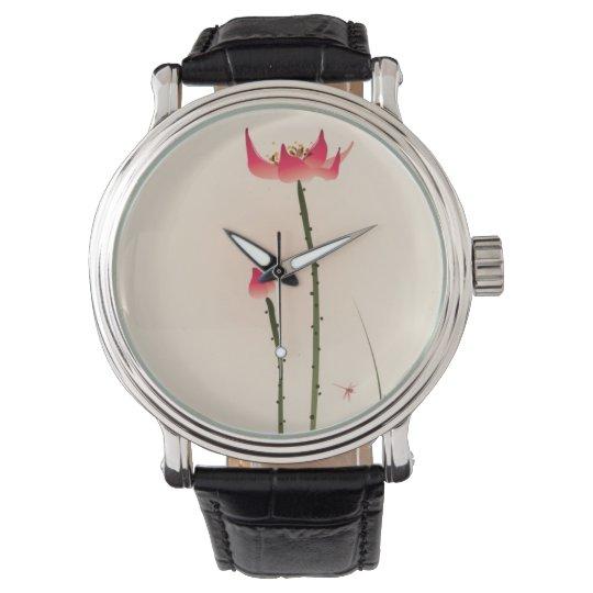 Oriental style painting, tall Lotus Wrist Watch