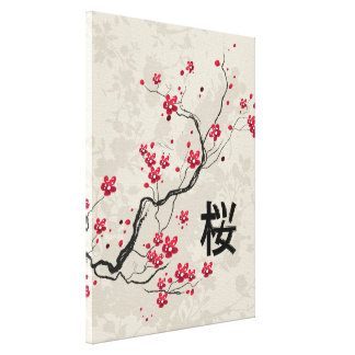 Oriental Style Sakura Cherry Blossom Art Canvas Print