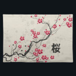 "Oriental Style Sakura Cherry Blossom Art Cloth Placemat<br><div class=""desc"">A beautiful and chic oriental inspired sakura cherry blossom illustration on paint splash floral background with a canvas effect with the Japanese kanji for cherry blossom. A stylish and modern representation of spring. We welcome custom requests, so if you would like any changes to this design, please contact us via...</div>"