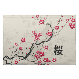 Oriental Style Sakura Cherry Blossom Art Cloth Placemat