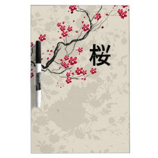 Oriental Style Sakura Cherry Blossom Art Dry Erase Board