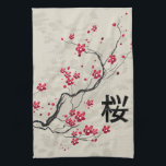 "Oriental Style Sakura Cherry Blossom Art Kitchen Towel<br><div class=""desc"">A beautiful and chic oriental inspired sakura cherry blossom illustration on paint splash floral background with a canvas effect with the Japanese kanji for cherry blossom. A stylish and modern representation of spring. We welcome custom requests, so if you would like any changes to this design, please contact us via...</div>"
