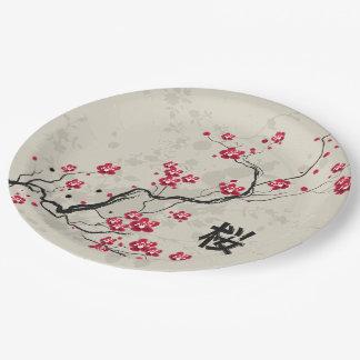 Oriental Style Sakura Cherry Blossom Art 9 Inch Paper Plate