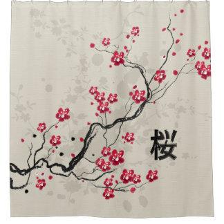 Nice Oriental Style Sakura Cherry Blossom Art Shower Curtain