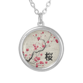 Oriental Style Sakura Cherry Blossom Art Silver Plated Necklace