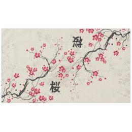 Marvelous Oriental Style Sakura Cherry Blossom Art Tablecloth
