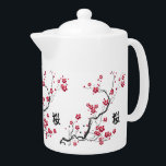 "Oriental Style Sakura Cherry Blossom Art Teapot<br><div class=""desc"">A beautiful and chic oriental inspired sakura cherry blossom illustration on paint splash floral background with a canvas effect with the Japanese kanji for cherry blossom. A stylish and modern representation of spring. We welcome custom requests, so if you would like any changes to this design, please contact us via...</div>"