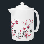 """Oriental Style Sakura Cherry Blossom Art Teapot<br><div class=""""desc"""">A beautiful and chic oriental inspired sakura cherry blossom illustration on paint splash floral background with a canvas effect with the Japanese kanji for cherry blossom. A stylish and modern representation of spring. We welcome custom requests, so if you would like any changes to this design, please contact us via...</div>"""