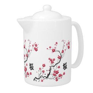 Oriental Style Sakura Cherry Blossom Art Teapot