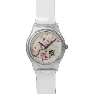 Oriental Style Sakura Cherry Blossom Art Wristwatch
