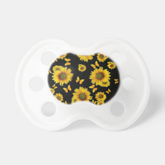 Oriental Style Yellow Butterflies Sunflowers Pacifier