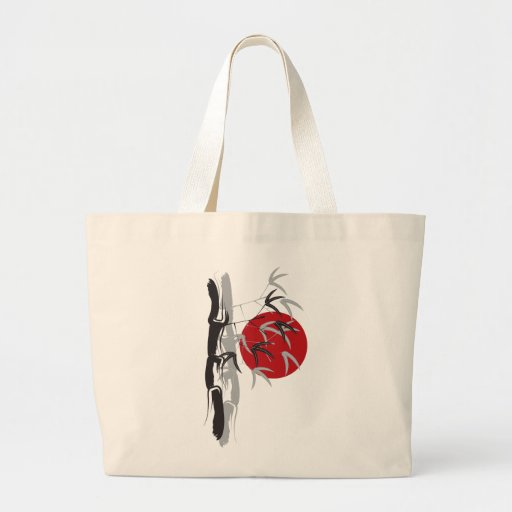 Oriental Sunrise Bamboo Leaves Tree Artistic Zen Canvas Bag