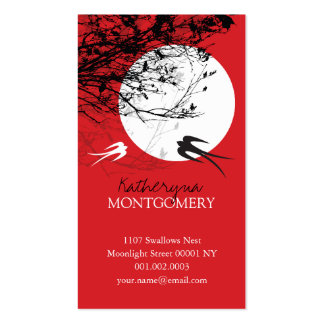 Oriental Swallows Birds Moonlight Tree Branches Ze Business Card Templates