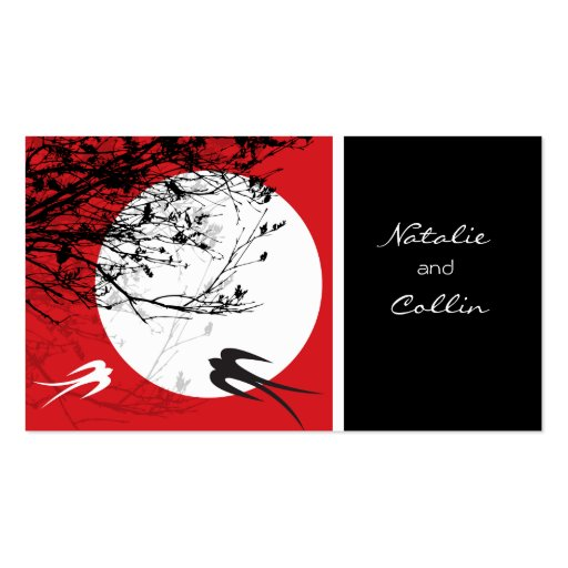Oriental Swallows in Moonlight Chinese Wedding Business Card